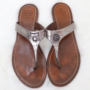 Tory Burch Silver Leather Sandals 8.5